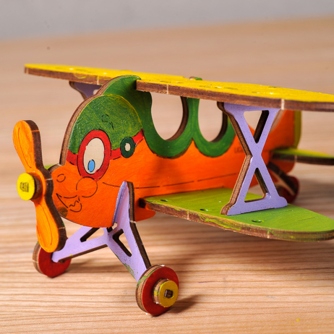 Ugears 4Kids coloring Biplane 5
