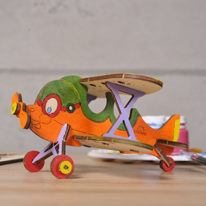 Ugears 4Kids coloring Biplane Title Photo in Catalogue