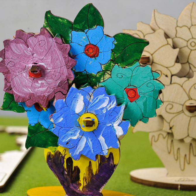 Ugears 4Kids coloring Bouquet 1