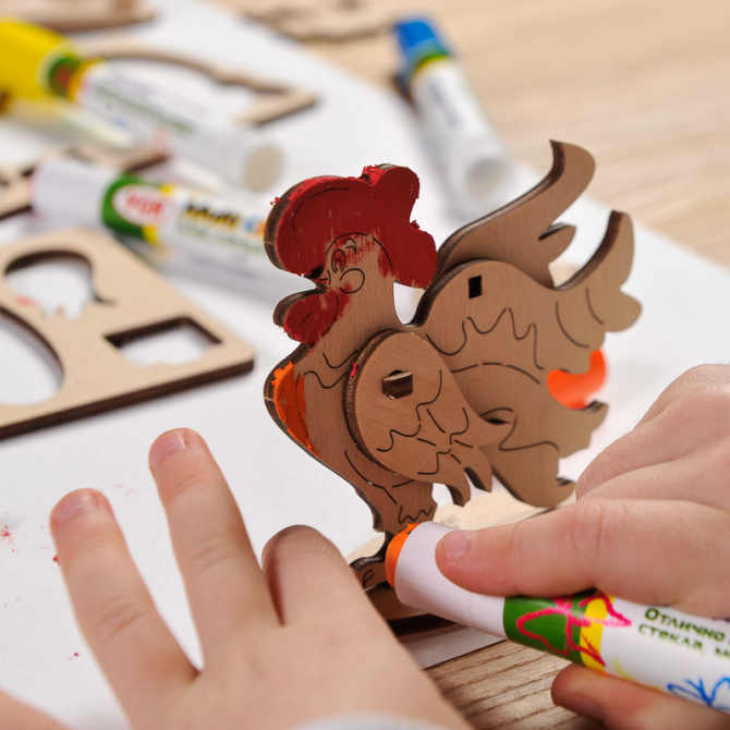 Ugears 4Kids coloring Cockerel 15