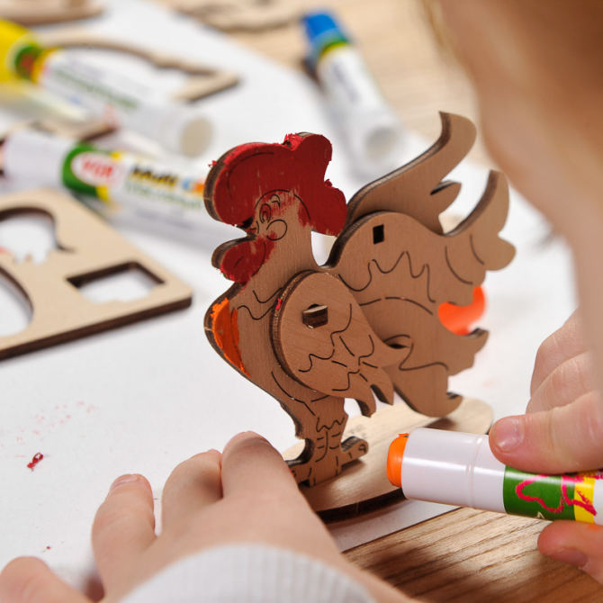 Ugears 4Kids coloring Cockerel 22