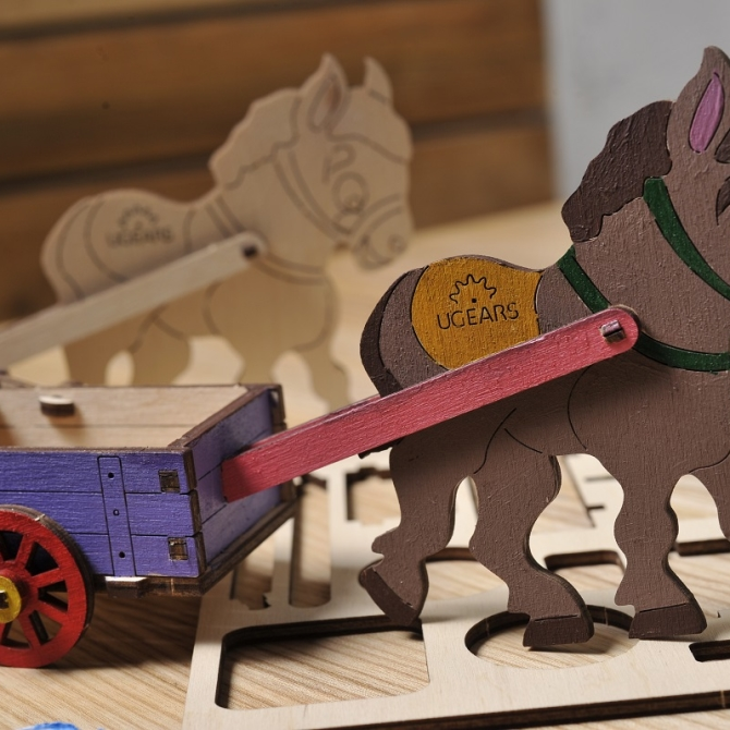 Ugears 4Kids coloring Donkey Title Photo in Catalogue