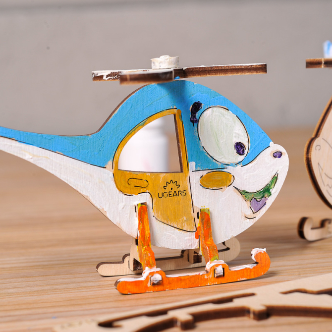 Ugears 4Kids coloring Helicopter 3