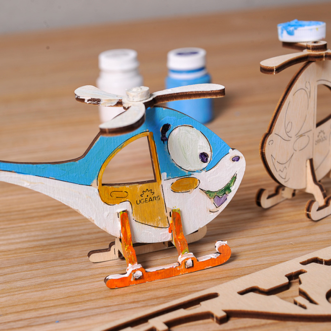 Ugears 4Kids coloring Helicopter 4
