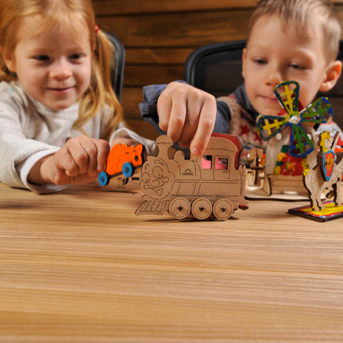 Ugears 4Kids coloring Locomotive 7