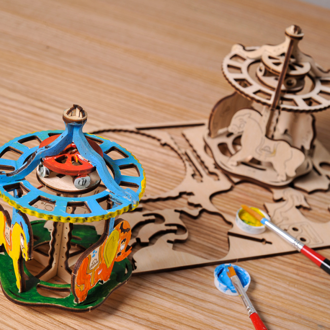 Ugears 4Kids coloring Merry-go-round 4
