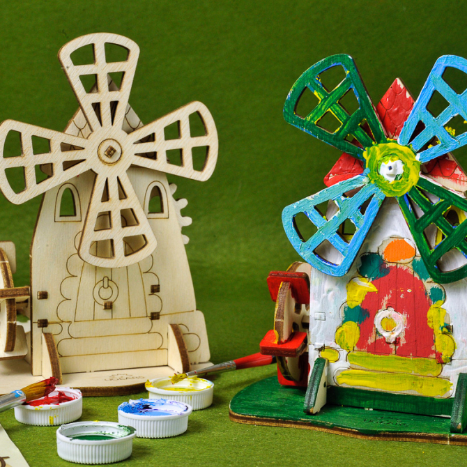 Ugears 4Kids coloring Mill 1