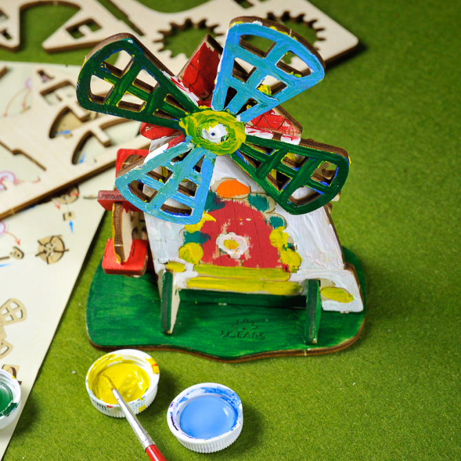 Ugears 4Kids coloring Mill 5