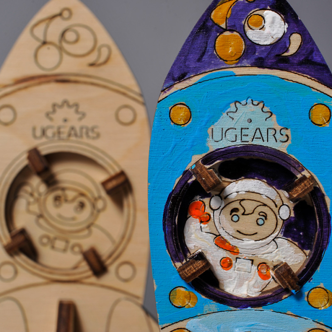 Ugears 4Kids coloring Rocket 2